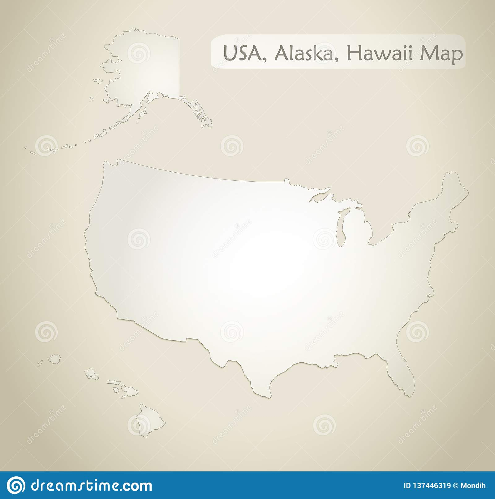Usa With Alaska And Hawaii Map Old Paper Background Stock Vector