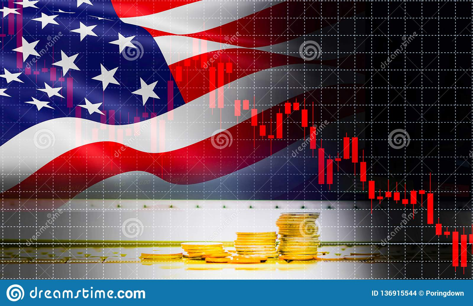 USA America flag candlestick graph background Stock market exchange analysis / indicator of changes graph chart business finance