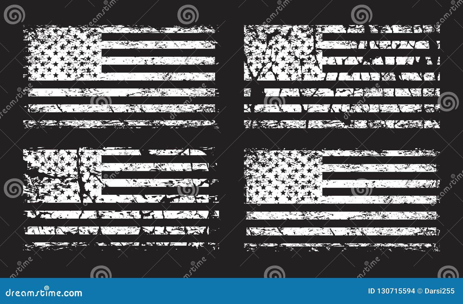 USA American grunge flag set, white isolated on black background, illustration.