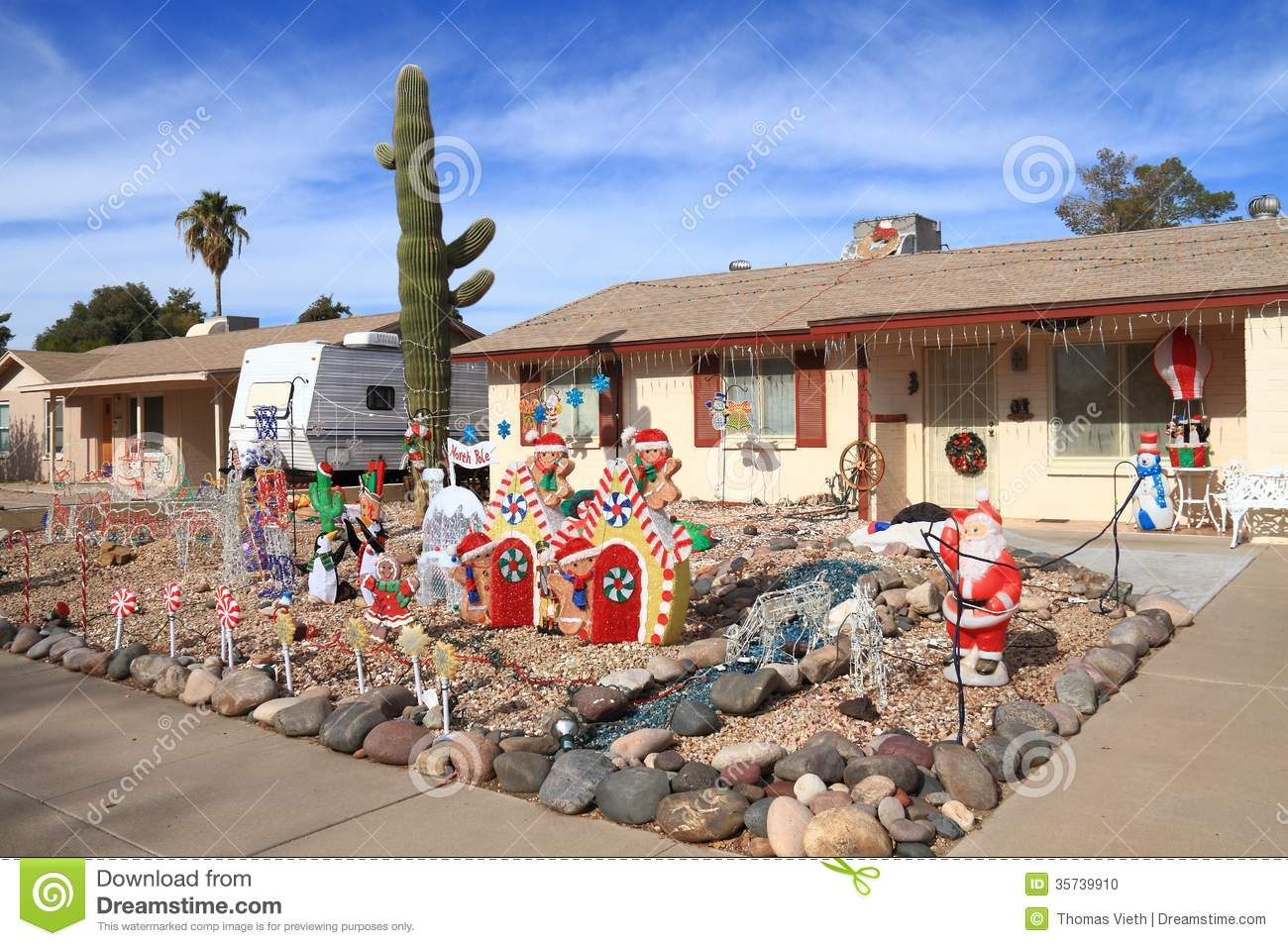 download usa arizona front yard christmas decorations stock photo image of gingerbread