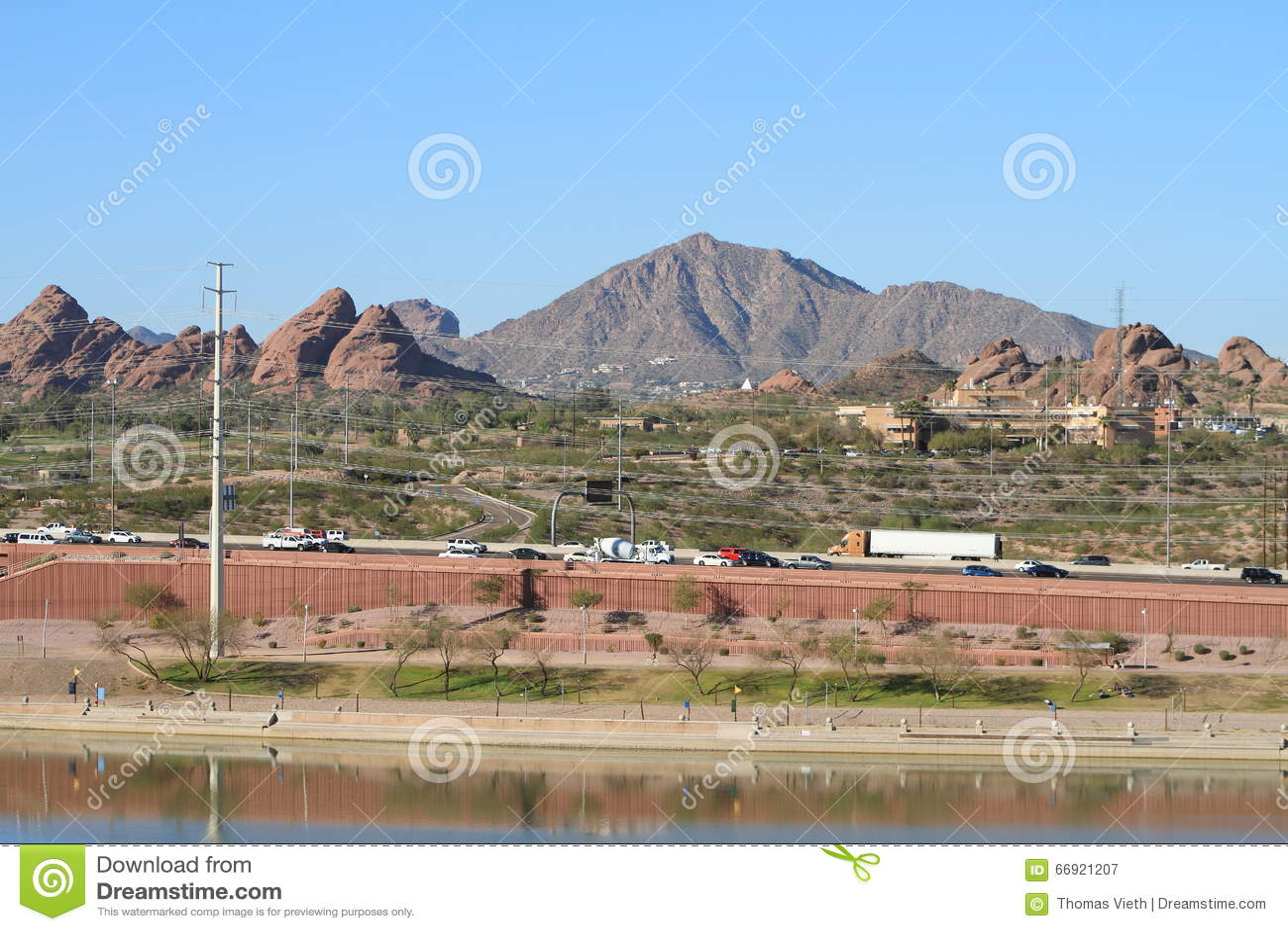USA, Arizona/Tempe: View Across Papago Park To Camelback Mountain ...