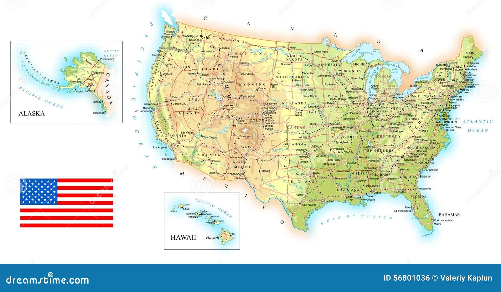 Usa Ausfuhrliche Topographische Karte Illustration Vektor