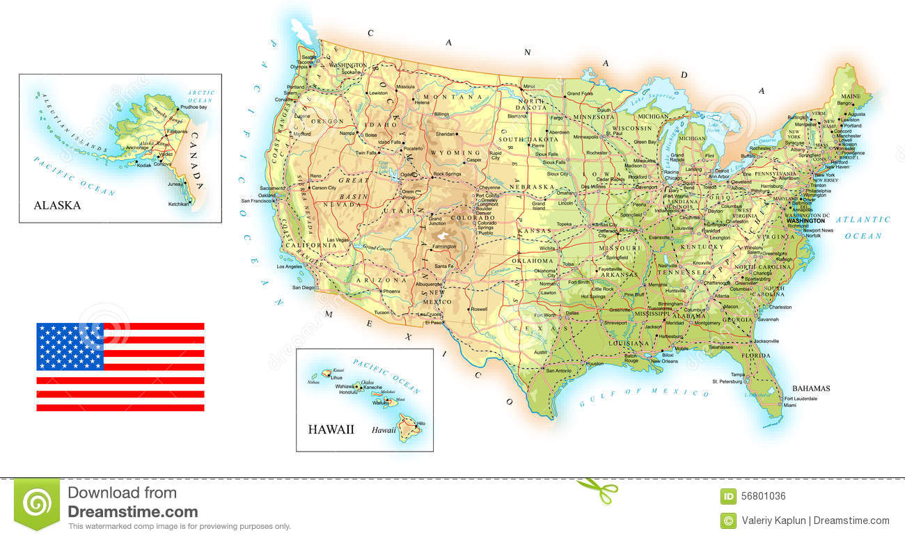 United States Of America Topographic Map