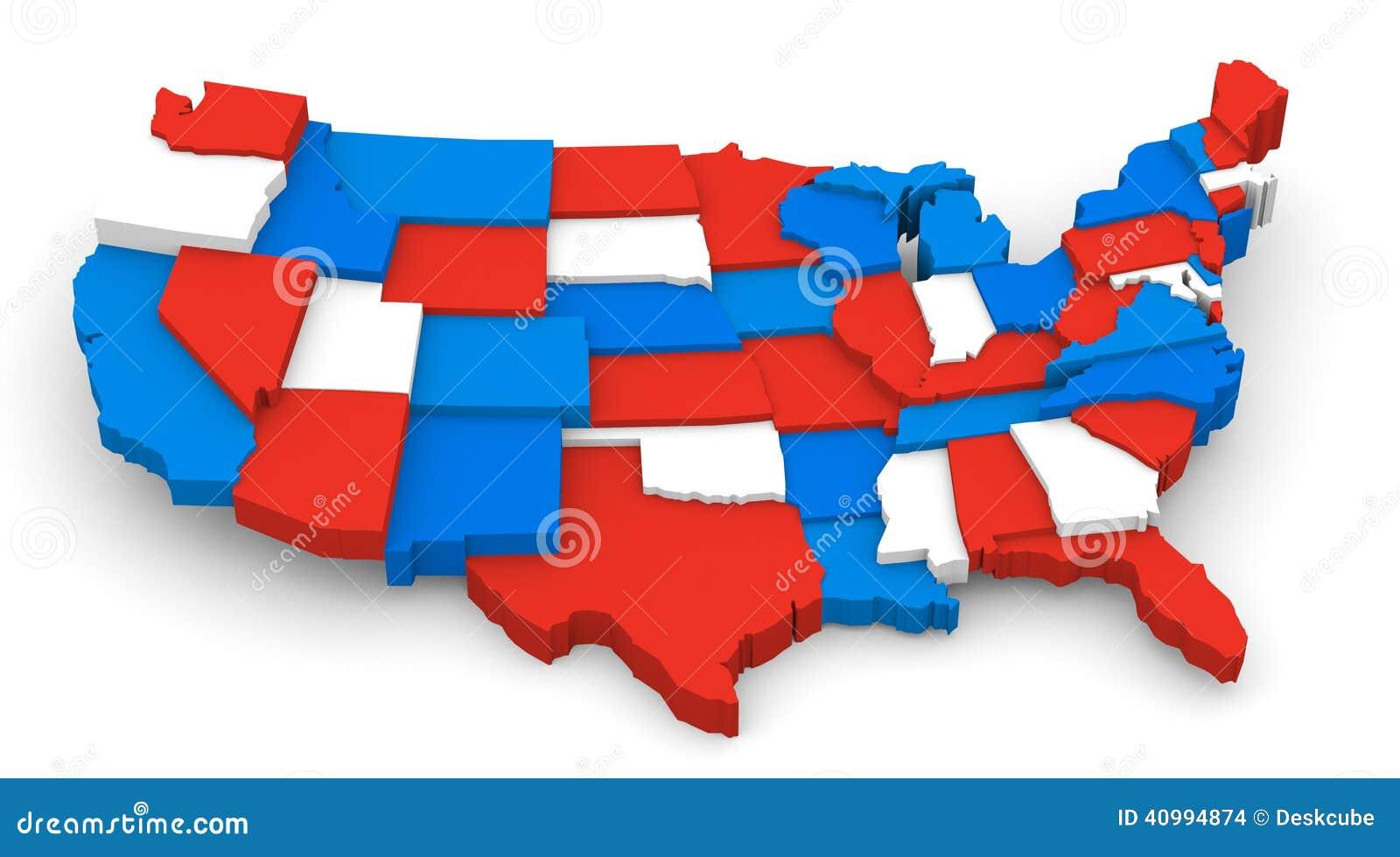 USA avbildar den röda vit- och blåttöversikten 3D