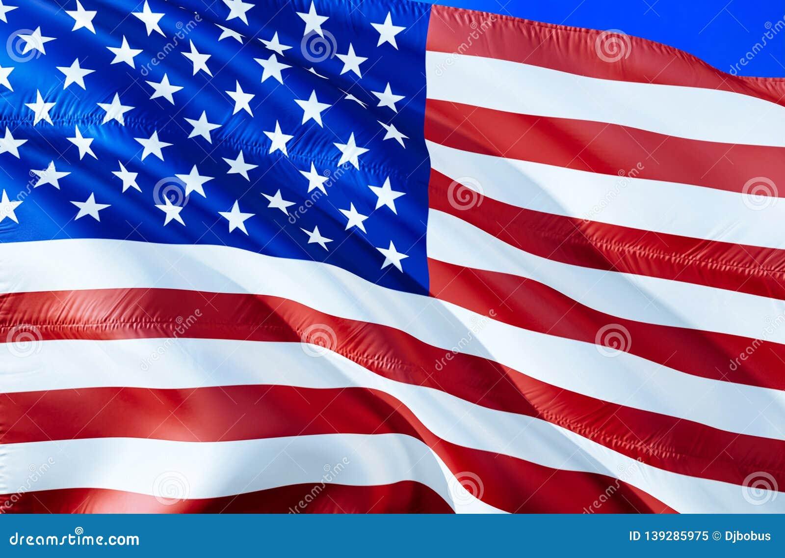 Usa bandery 3D falowania flaga projekt Krajowy symbol usa, 3D rendering Stany Zjednoczone obywatela kolory Flaga państowowa usa w