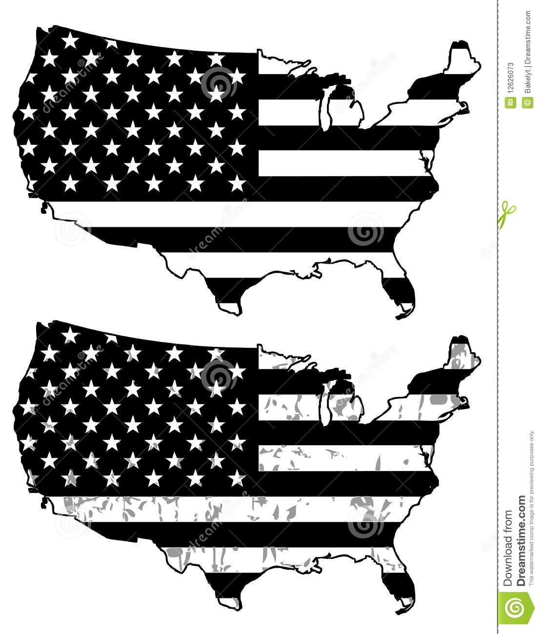 USA Black And White Flags Stock Photos - Image: 12626073