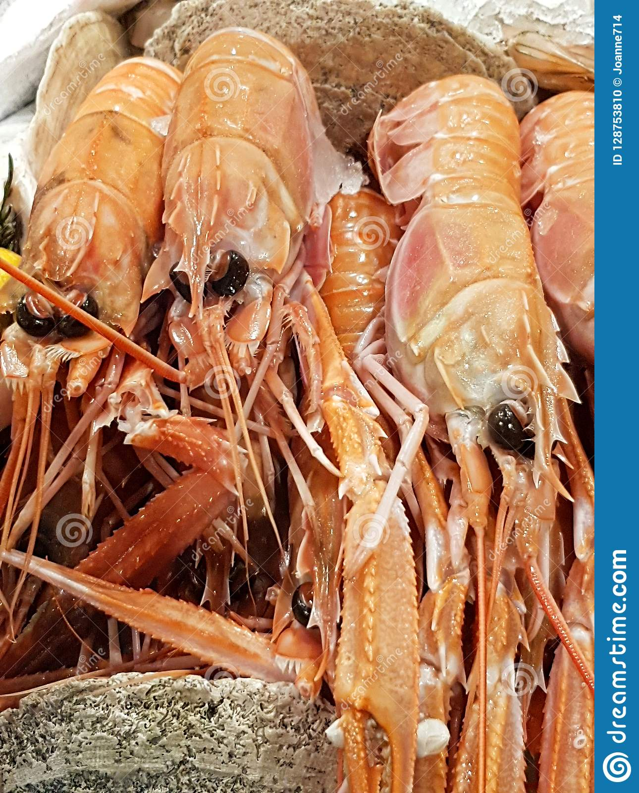 King prawns on sale in a local market