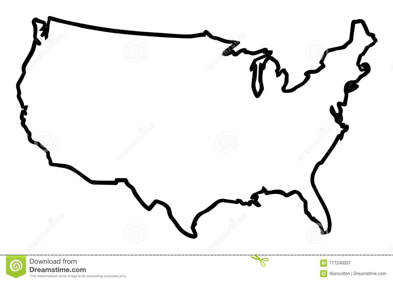 USA Broad Outline Map stock vector. Illustration of graphic ...
