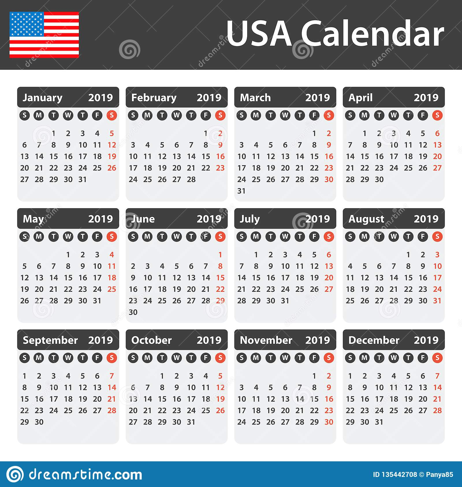 Usa Calendar For 2019 Scheduler Agenda Or Diary Template Week