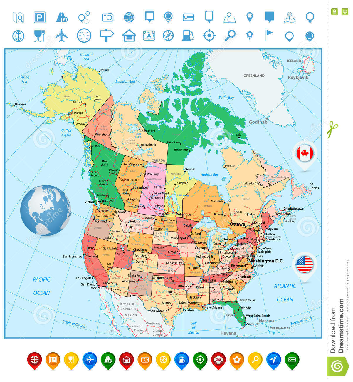 USA And Canada Large Detailed Political Map And Colorful Map