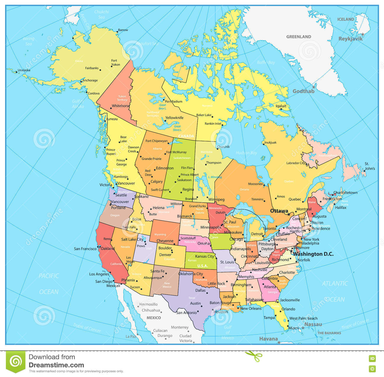 Political Map Of Canada And Usa.Usa And Canada Large Detailed Political Map Stock Vector