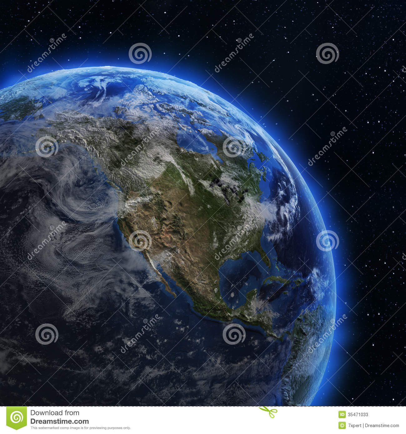 USA and Canada from space stock illustration. Illustration ...