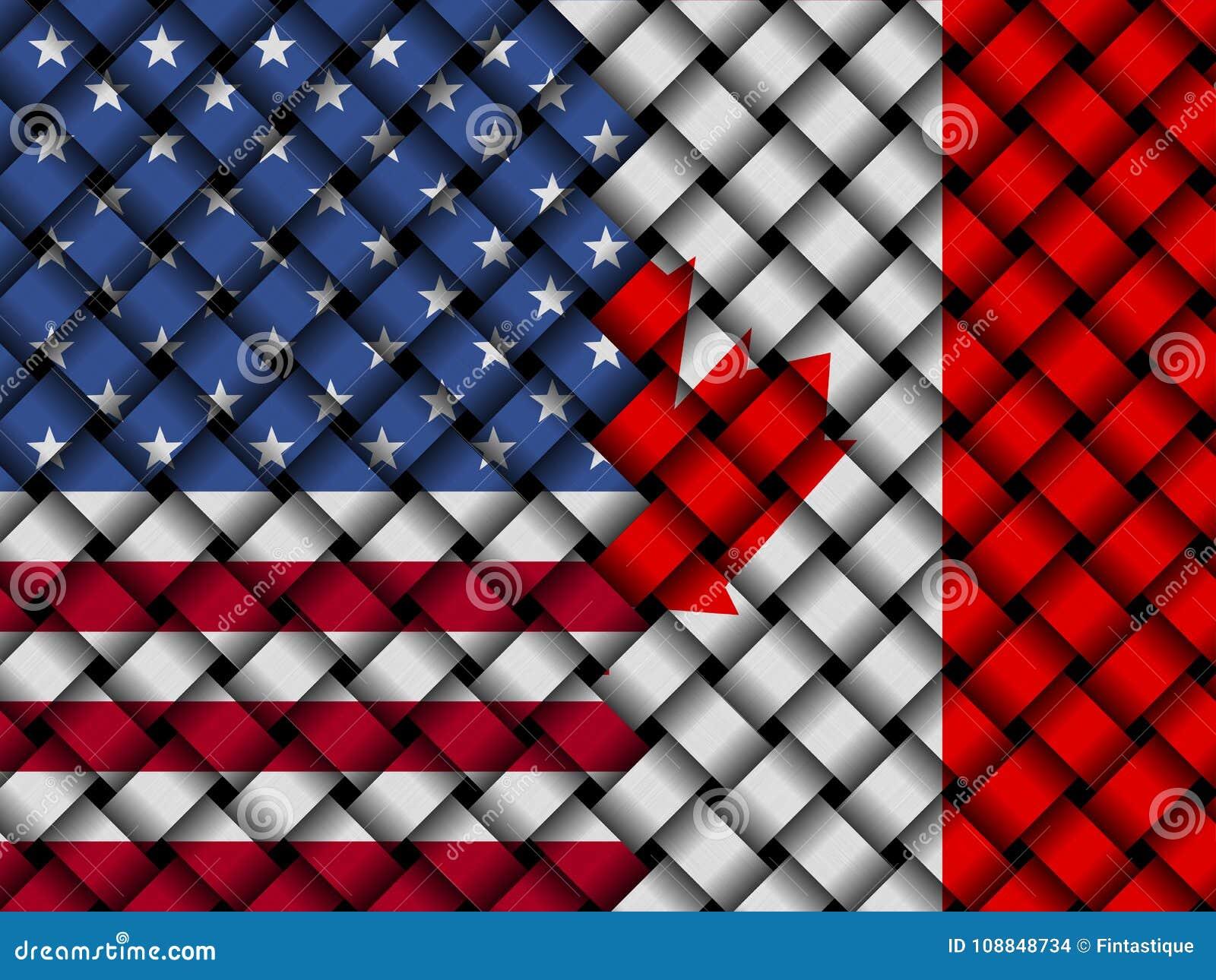 USA Canadian interwoven flags 3d illustration