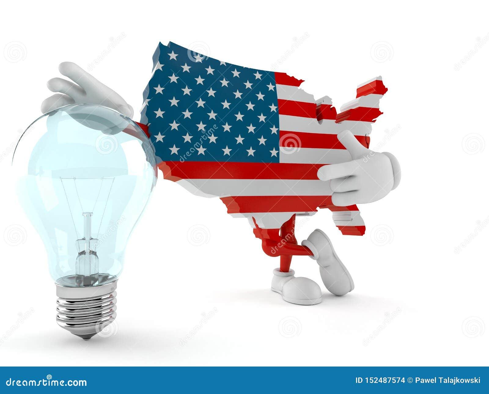 USA character with light bulb