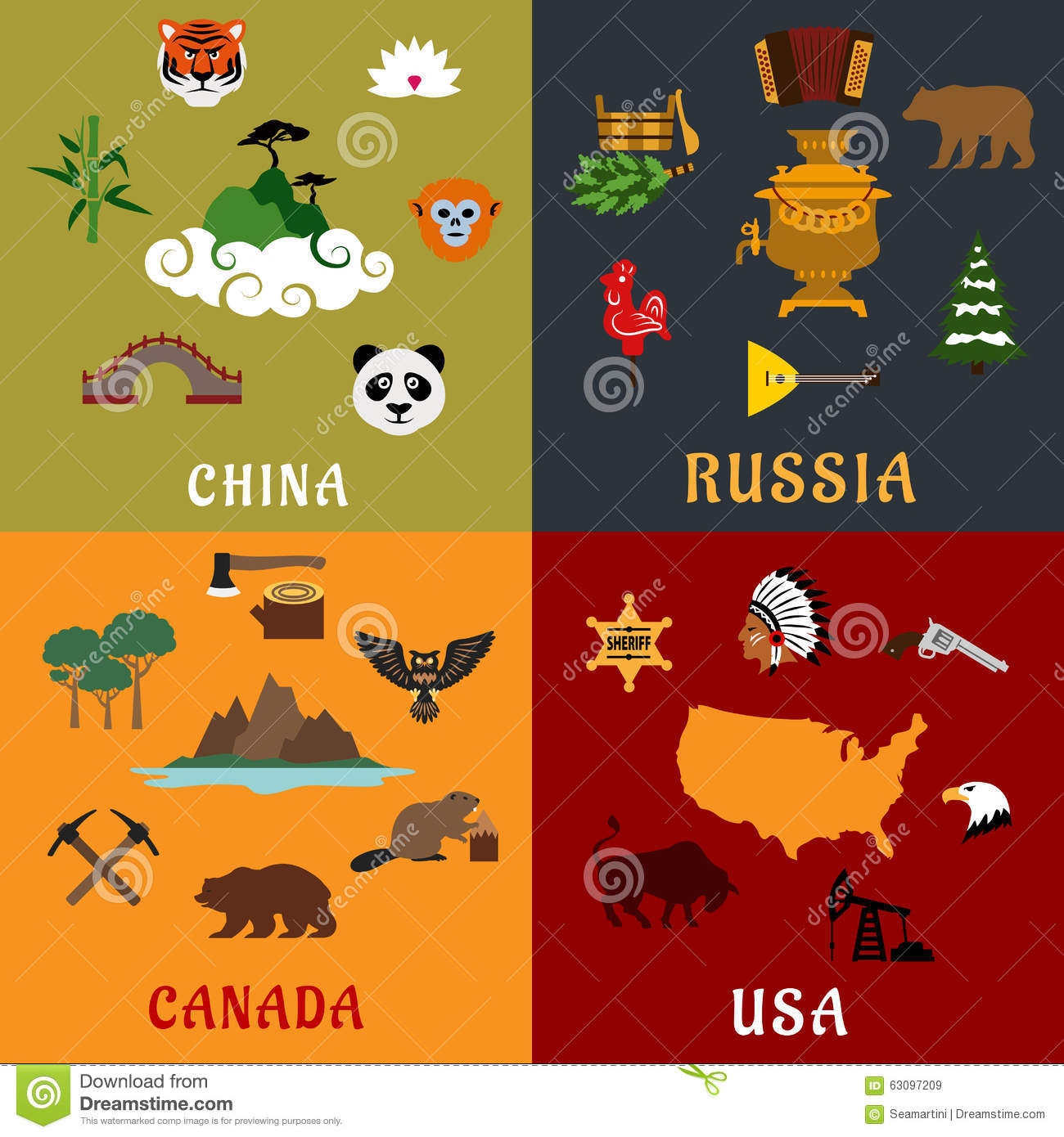 USA, China, Russia And Canada Flat Travel Icons Stock ...