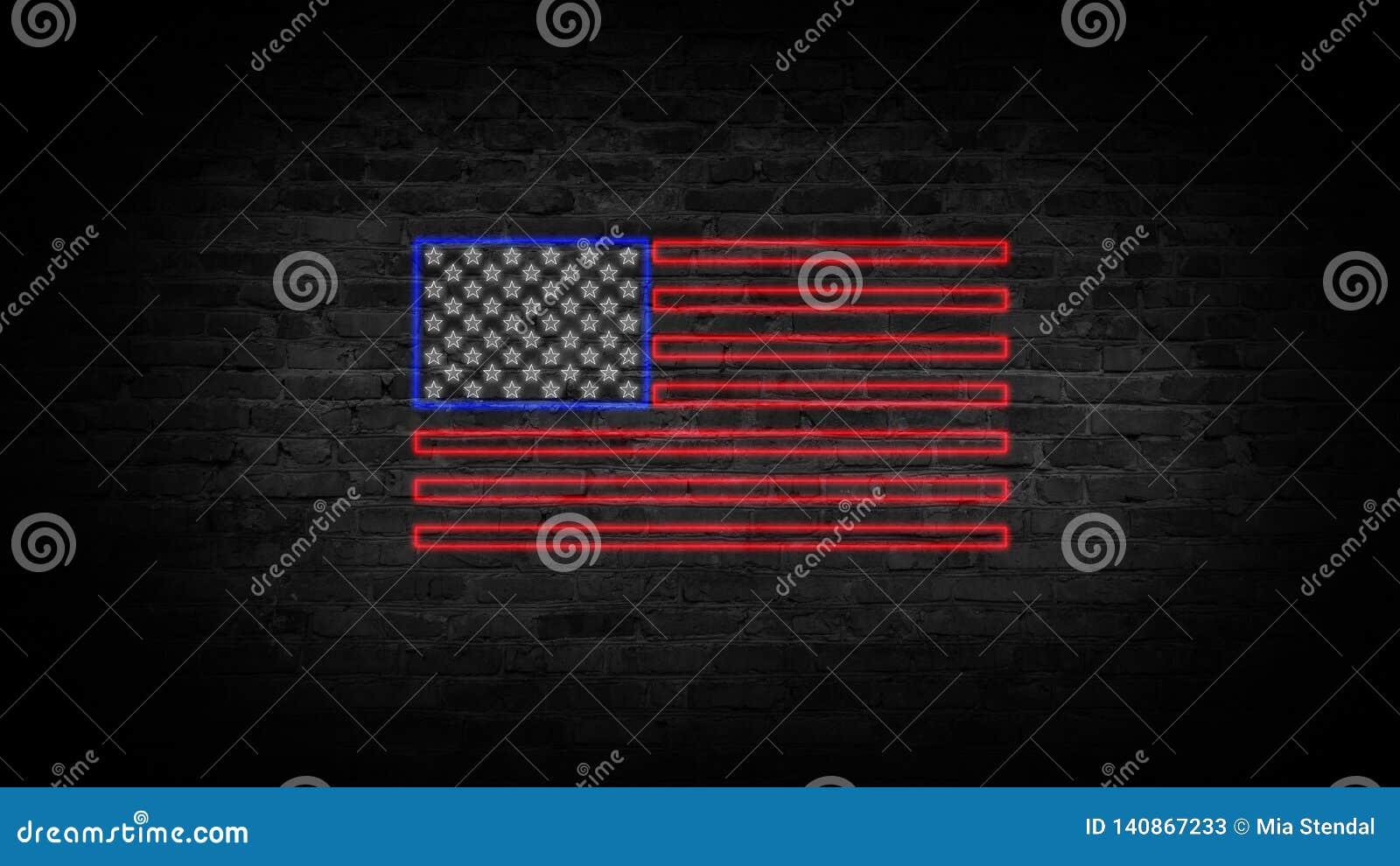 USA chorągwiany neonowy znak Dnia usa świątecznie tło