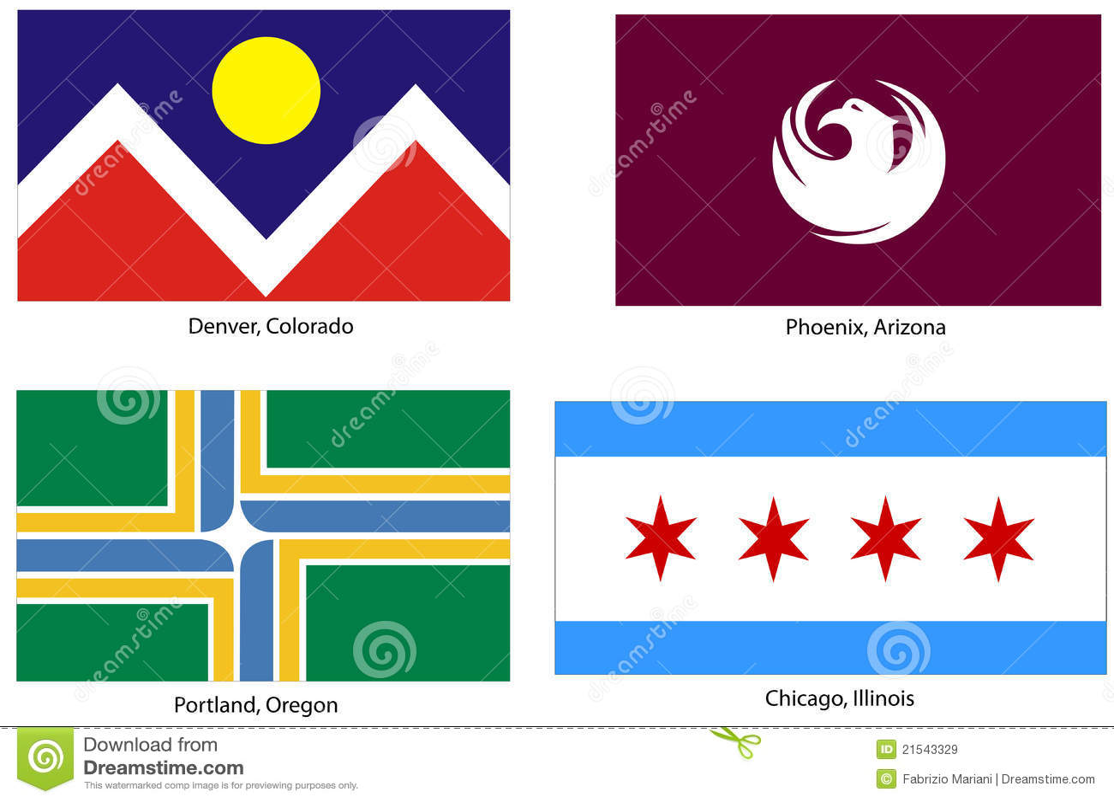 usa city flags set stock vector illustration of portland 21543329
