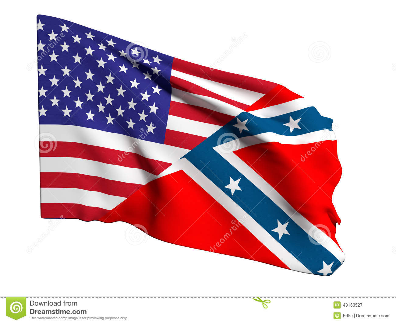 Usa And Confederate Flag Stock Illustration - Image: 48163527