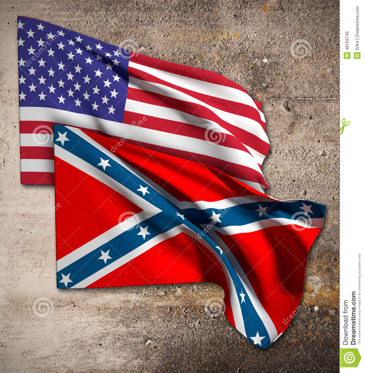 usa and confederate flag stock illustration illustration of south
