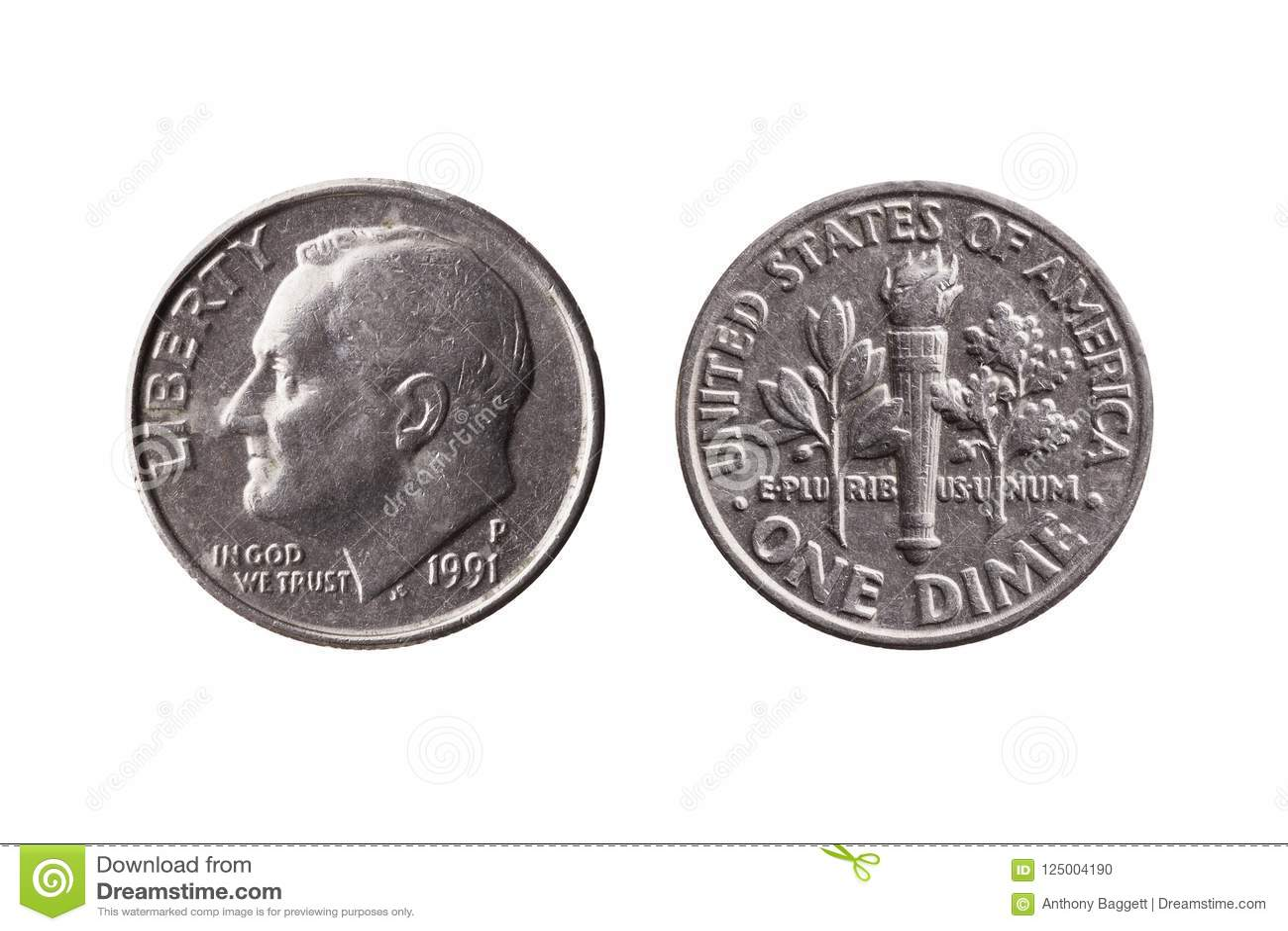 USA dime coin 10 cents obverse Franklin D Roosevelt