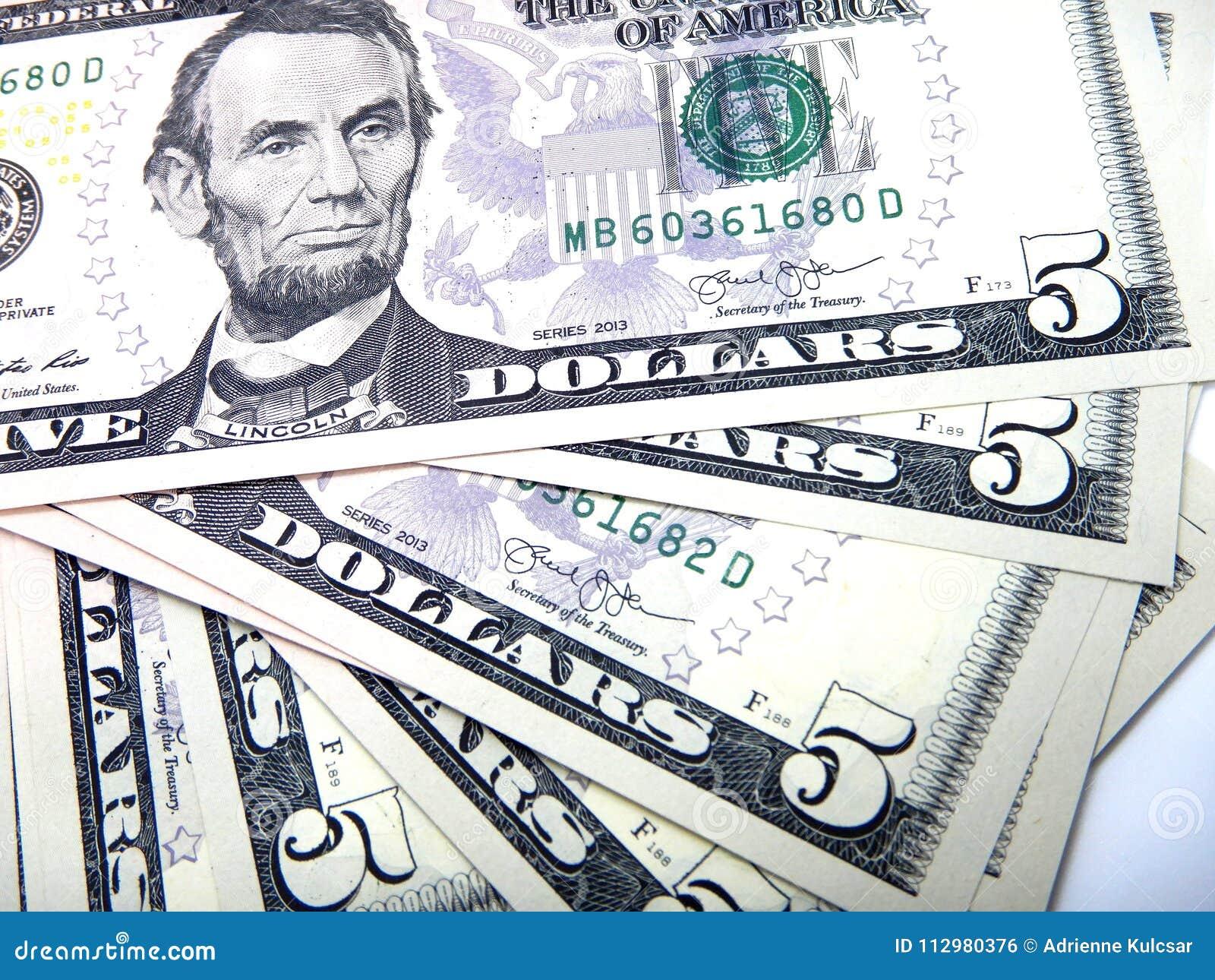 Money, five US dollar banknotes