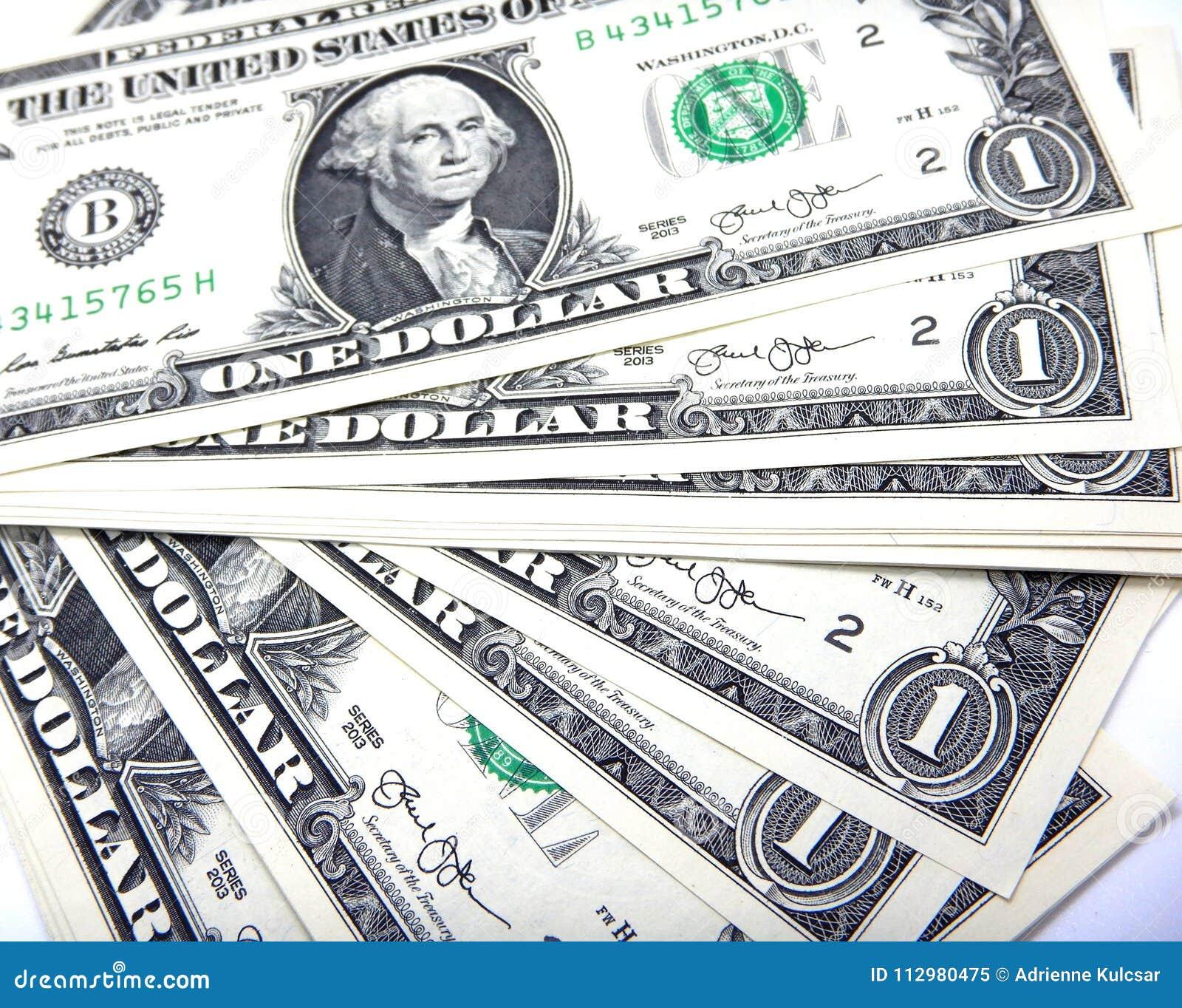 Money, one US dollar banknotes