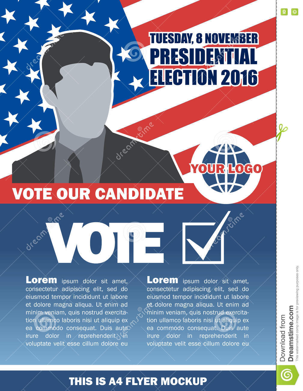 2016 Candidate Checkbox Country Digital Election Flyer Image Male Map Mockup Usa