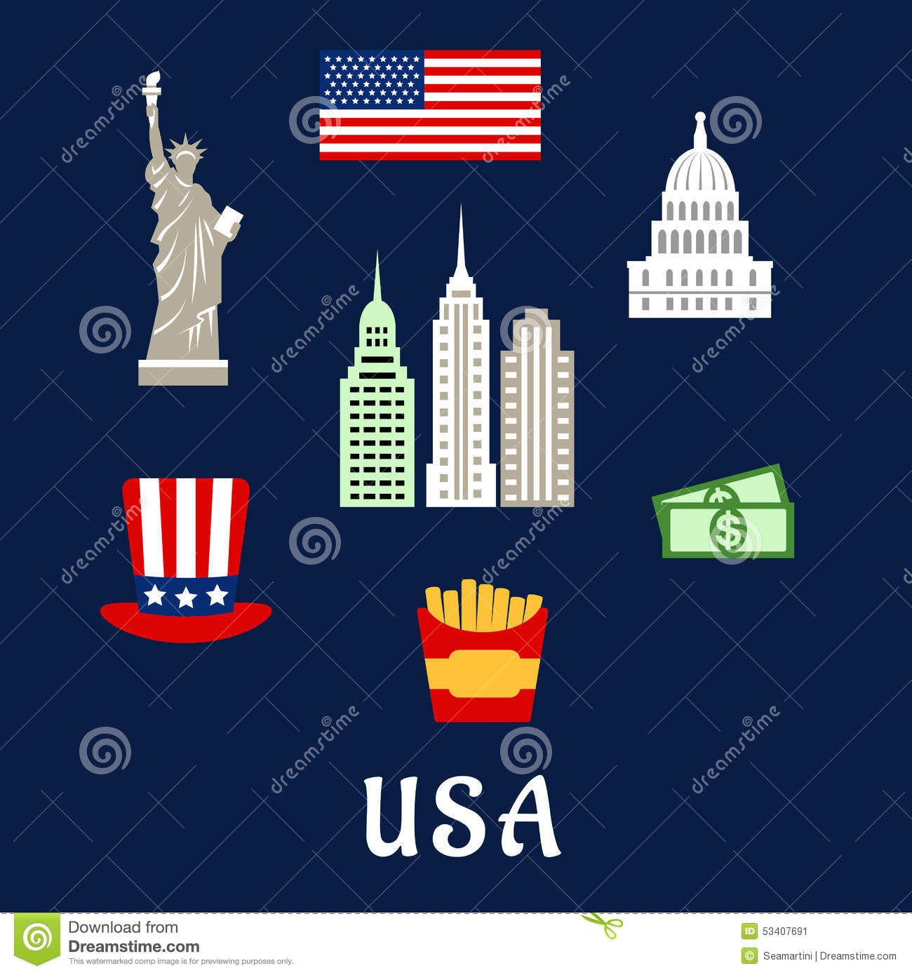 usa famous architecture and culture symbols stock vector us flag clip art vector us flag clip art free