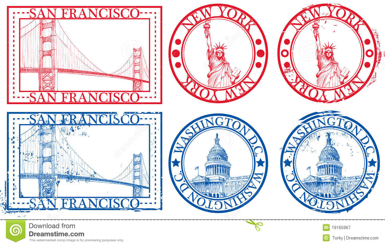 Usa Famous Cities Stamps Stock Vector Image Of Seal