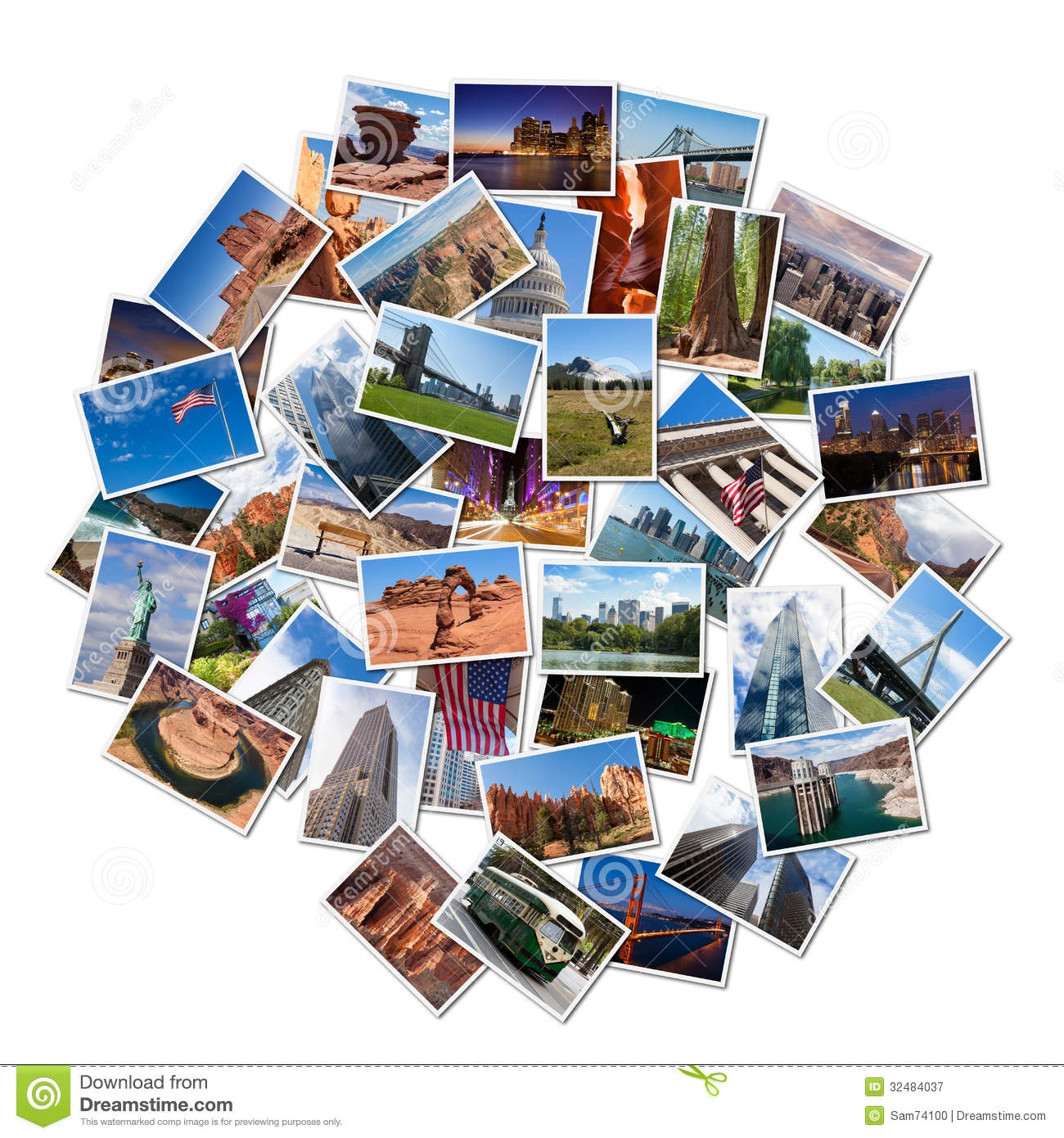 usa famous landmarks landscapes photo collage over white background 32484037