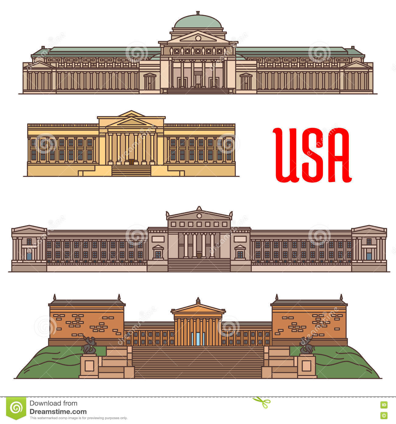 USA Famous Travel Attractions Landmarks Stock Vector Image - Famous art museums in usa