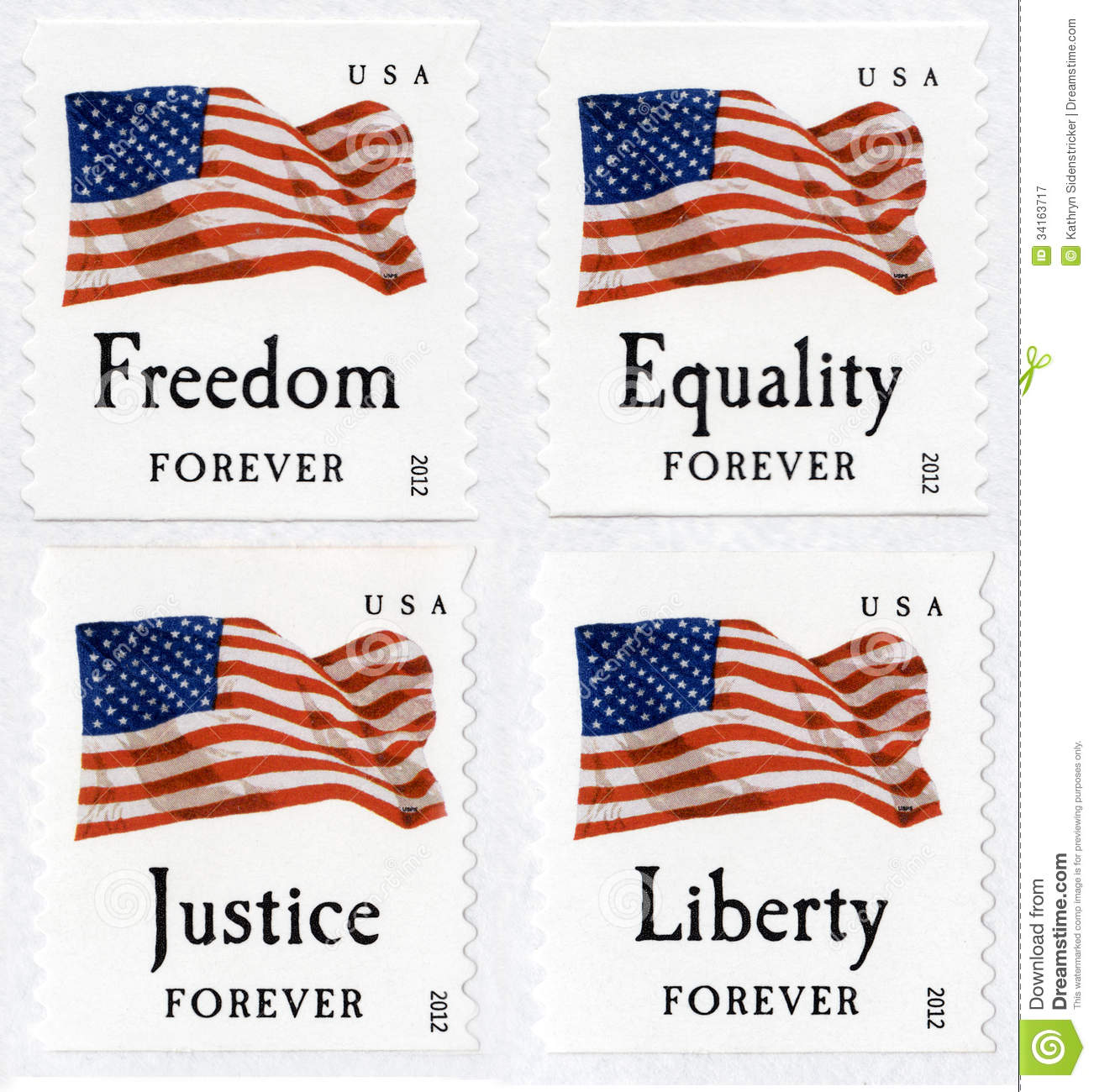 USA First Class Forever Flag Stamps Stock Image - Image of