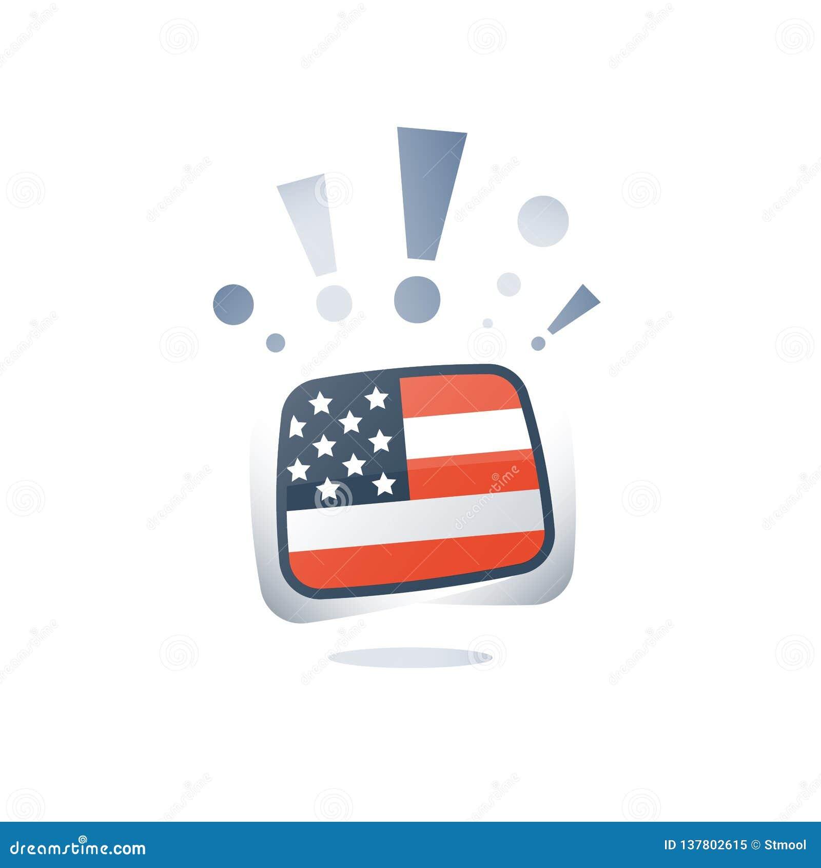 USA flag, American English language, linguistic learning, online course, preparation program, vocabulary improvement