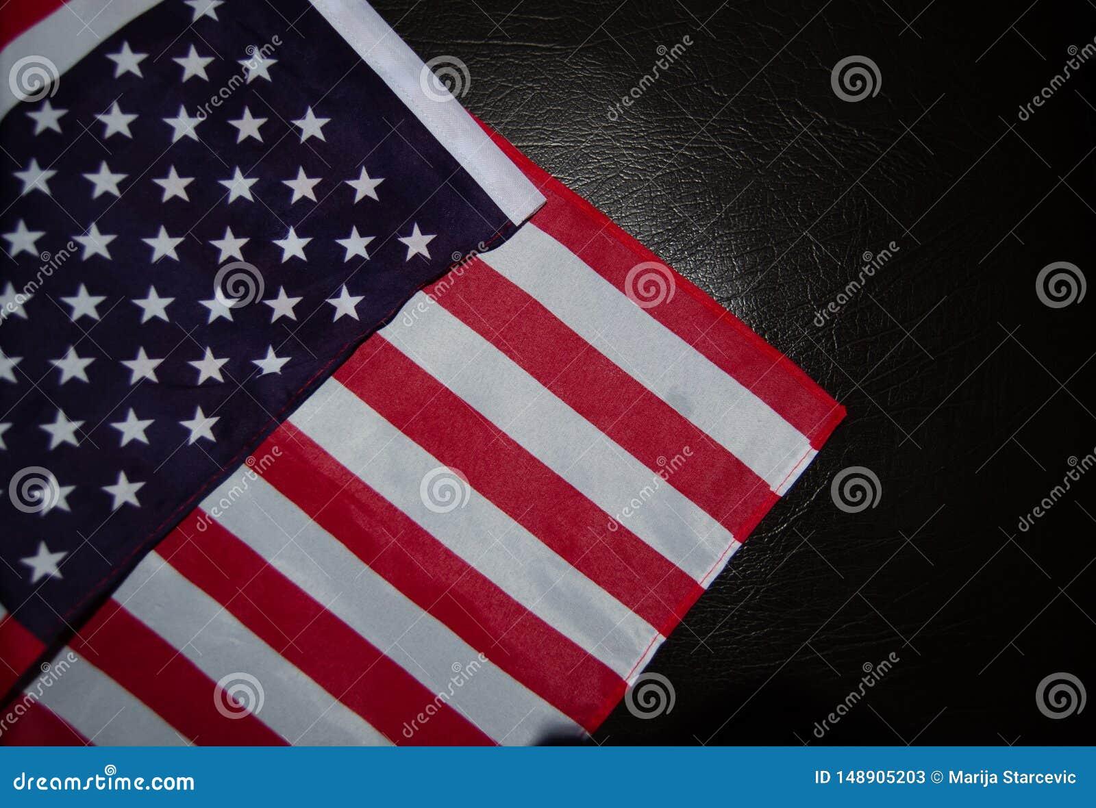 Usa flag on black leather