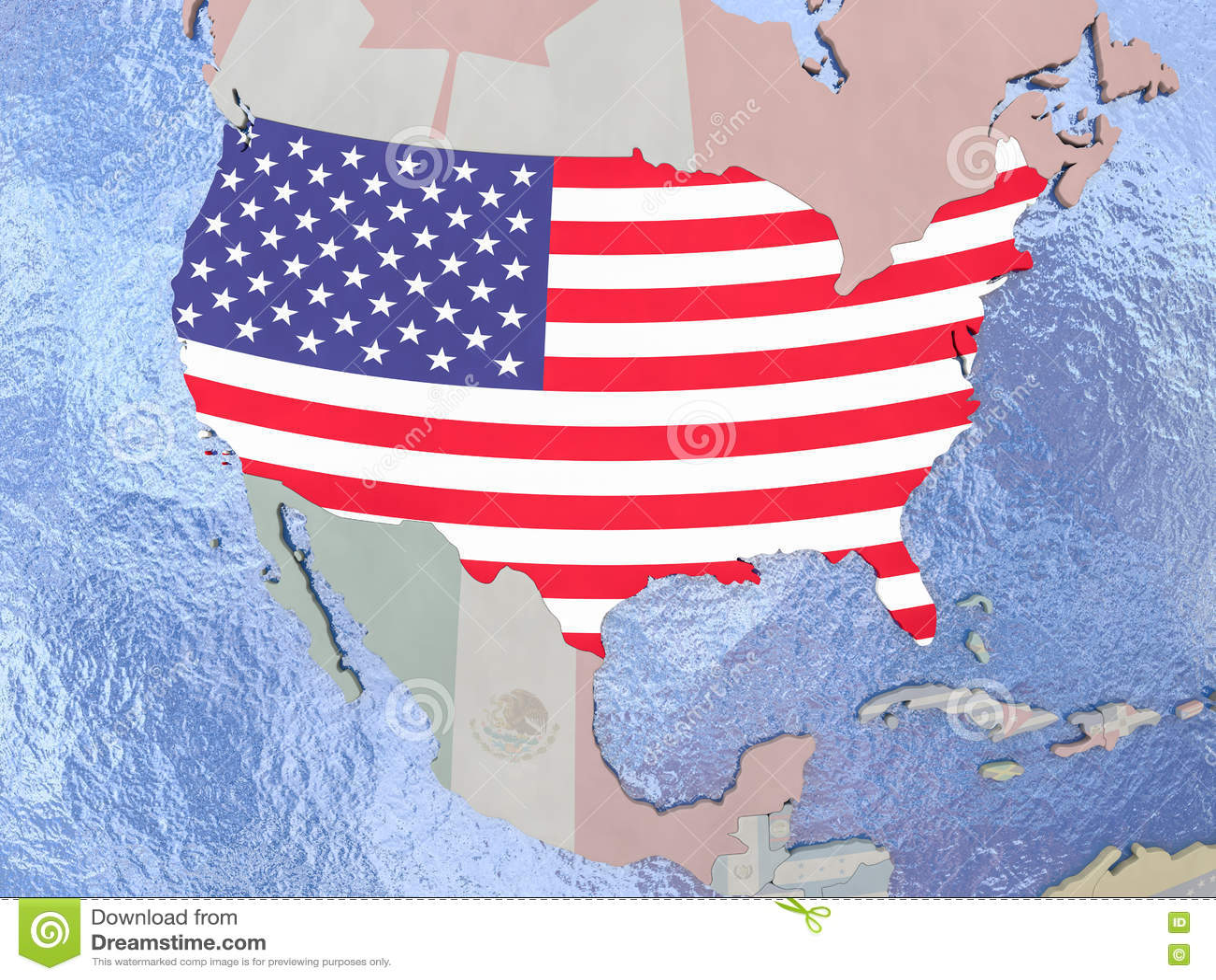 USA With Flag On Globe Stock Illustration Image - Usa globe map
