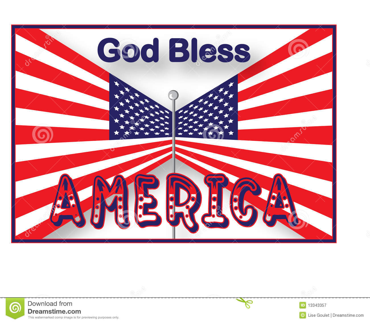Usa Flag God Bless America Stock Vector Illustration Of Text 13343357