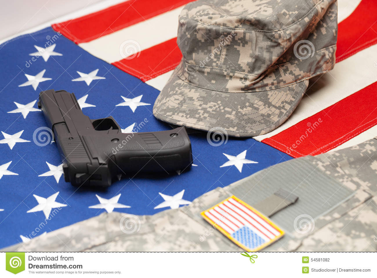 USA Flag With Handgun And US Army Uniform Over It Stock Photo ... d427ea20f06