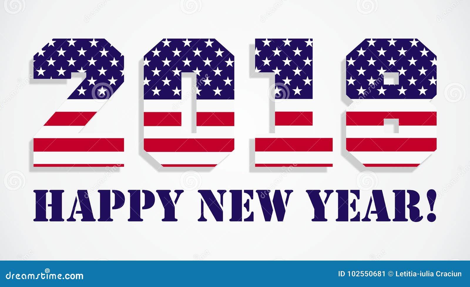 USA Flag 2018 Happy New Year Stock Vector - Illustration of stripe ...