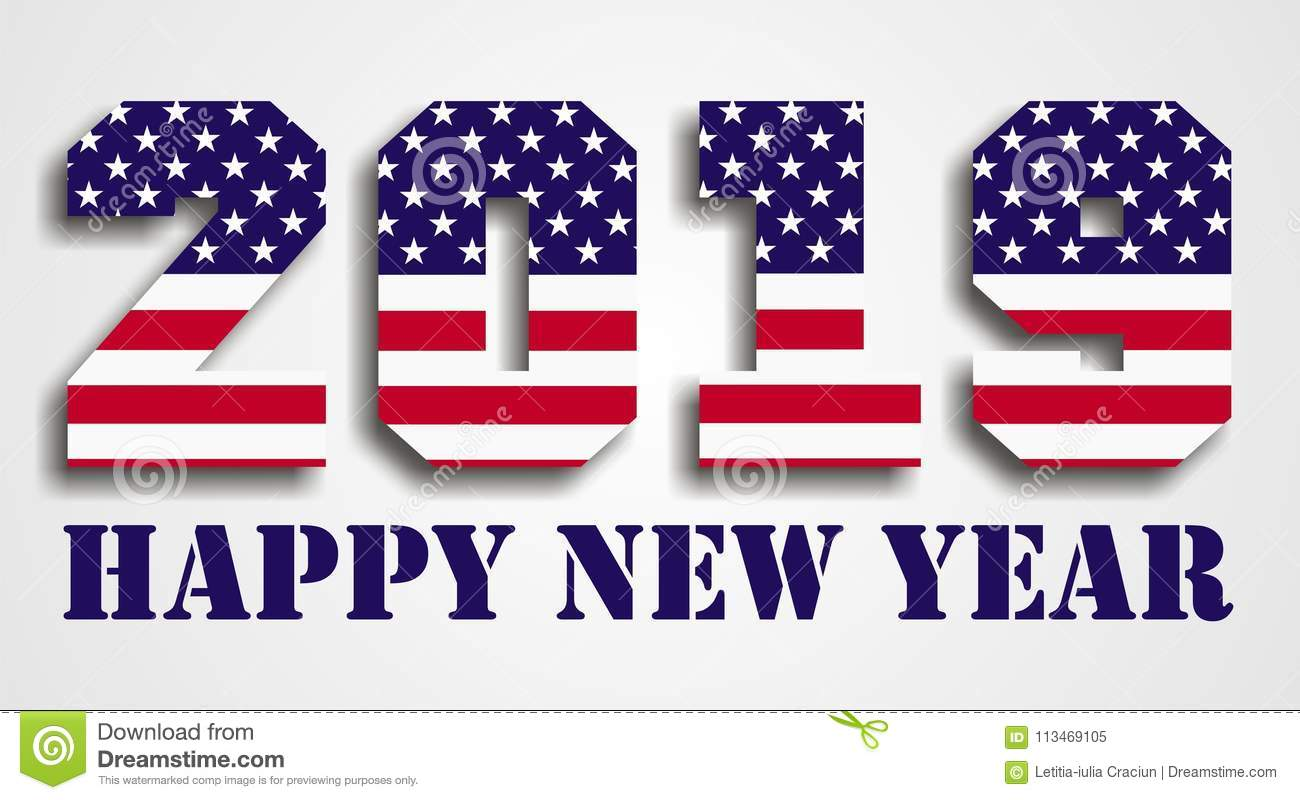usa flag 2019 happy new year