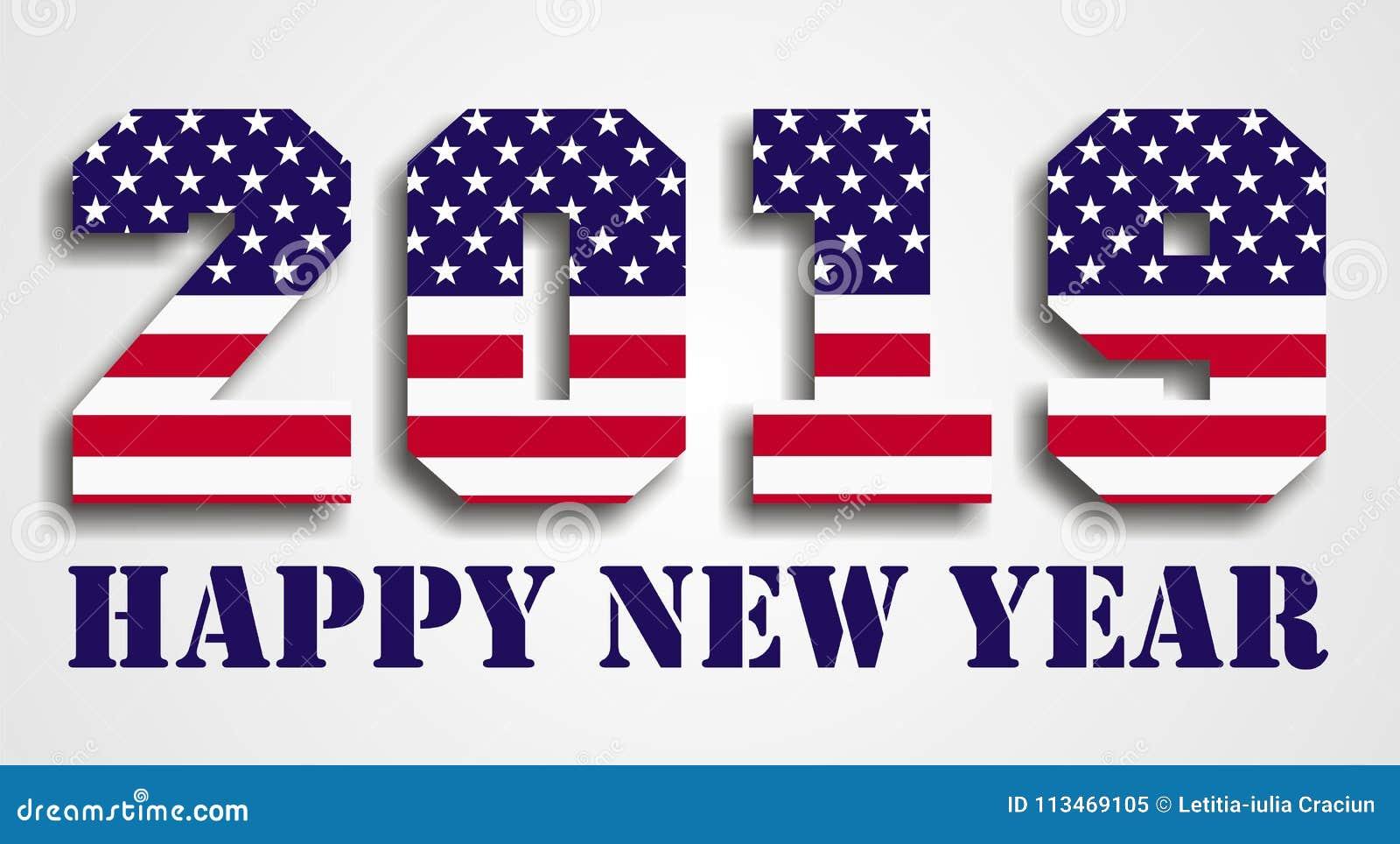 usa flag 2019 happy new year