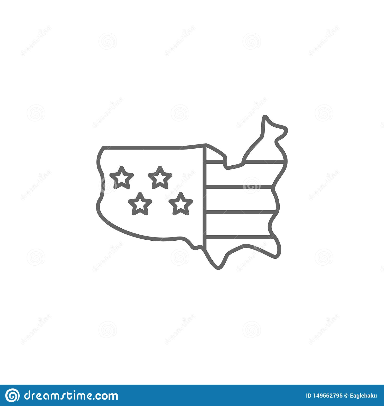 Usa Flag Map Outline Icon. Elements Of Independence Day ...