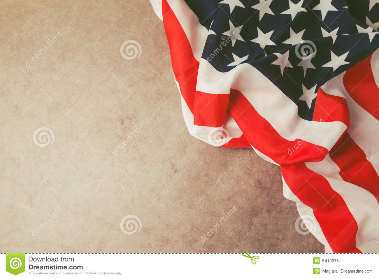 usa flag over vintage paper with copy space  4th of july background stock photo