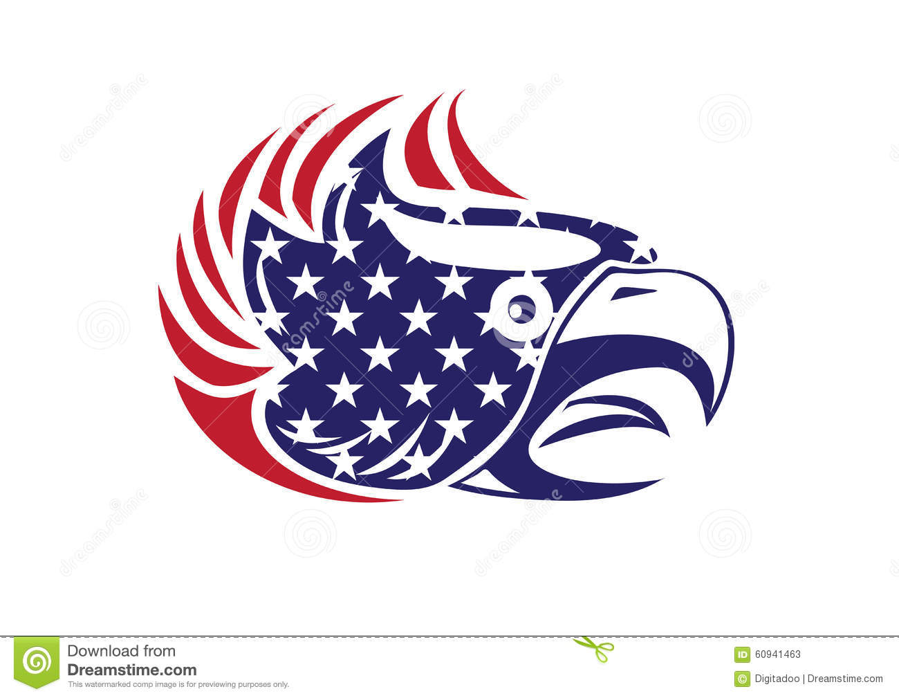 usa flag patriotic eagle bald hawk head vector logo stock