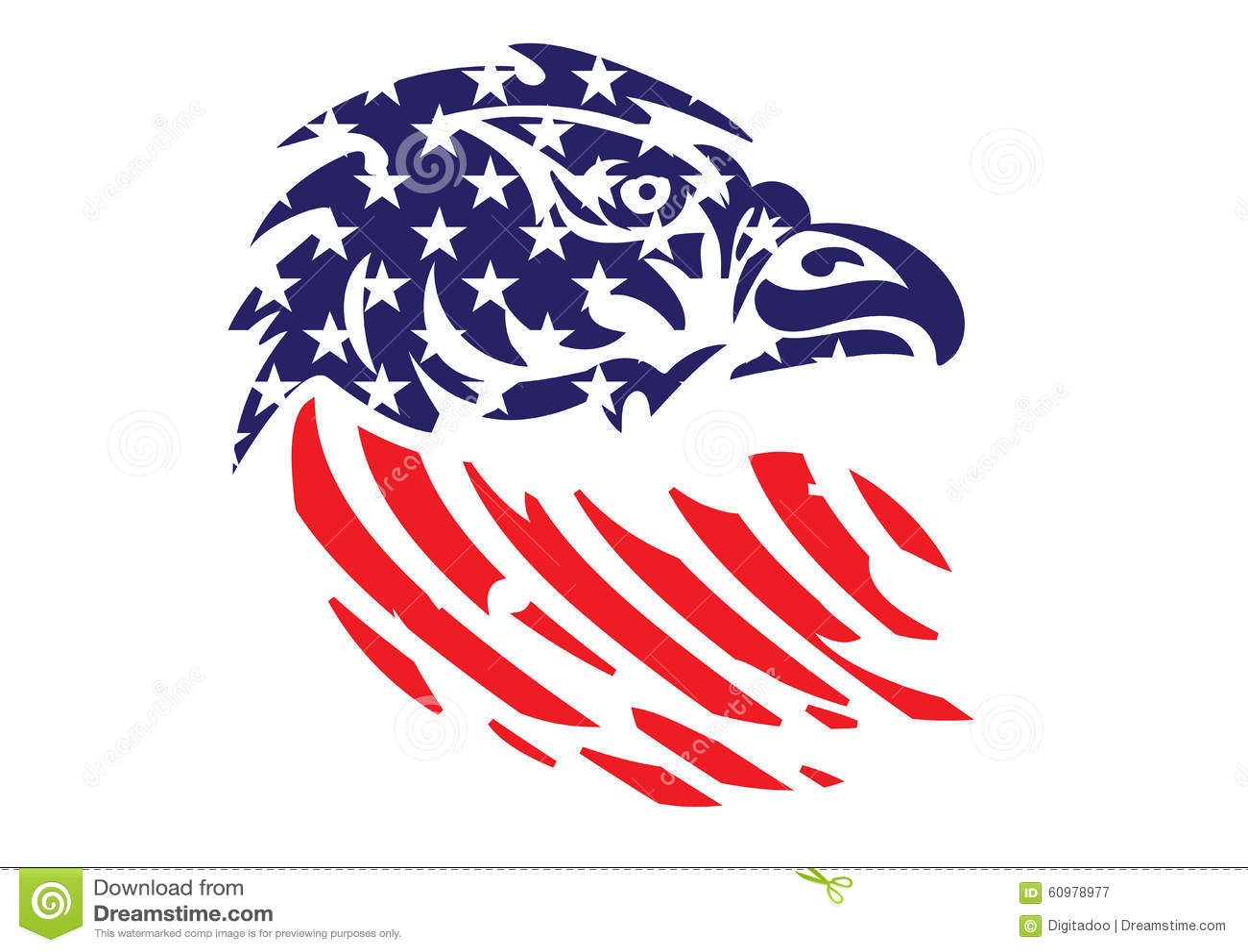Usa Flag Patriotic Eagle Bald Hawk Head Vector Object Stock Vector