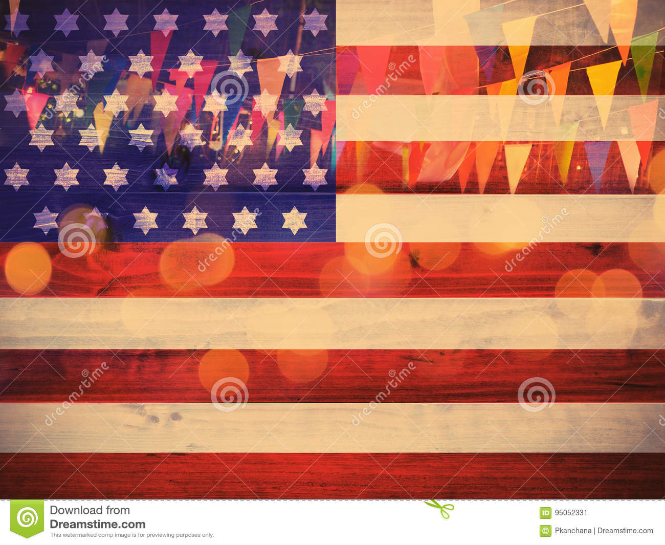 Usa flag pattern on wood nd party decoration background