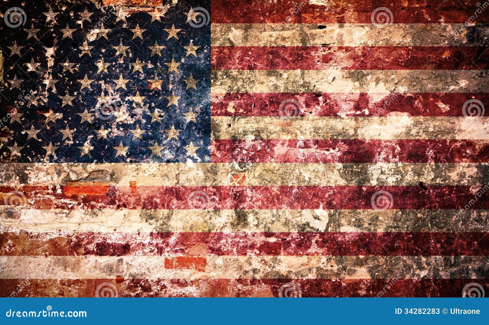 usa flag on peeling paint wall stock image image of