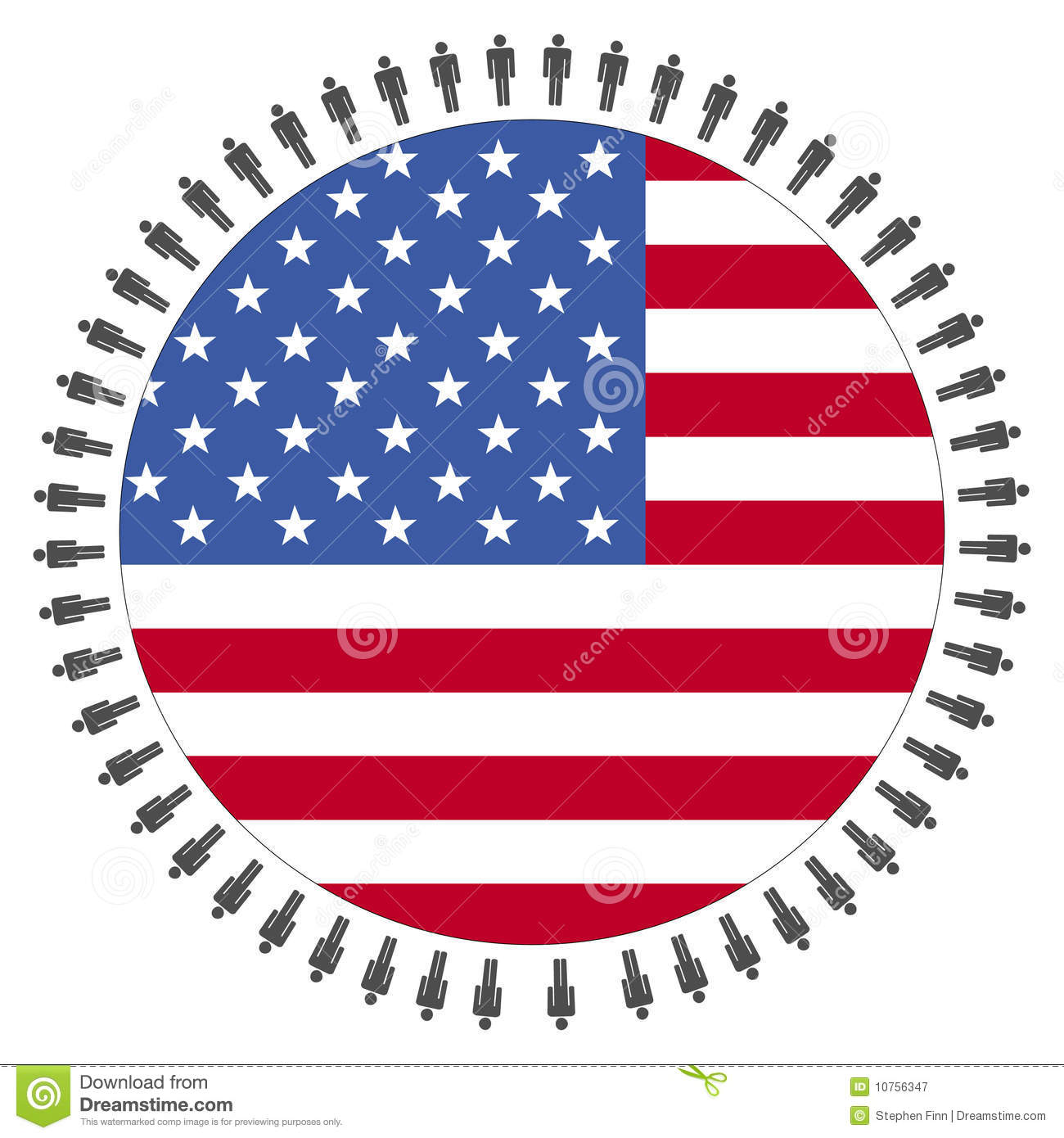 USA Flag With People Royalty Free Stock Photography - Image: 10756347
