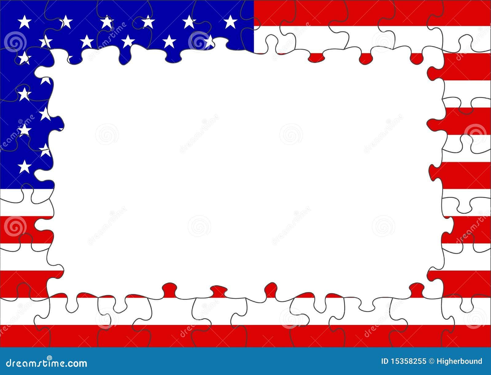 Usa Flag Puzzle Border Royalty Free Stock Photo Image