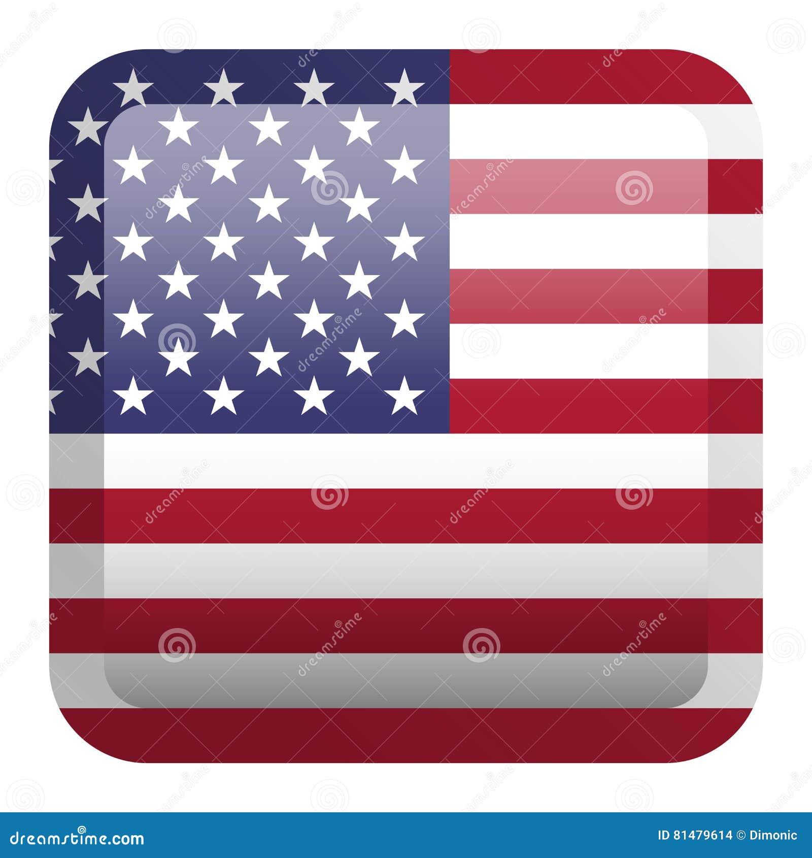 d6c3086e73de USA Flag. Square Glossy Button Stock Vector - Illustration of color ...
