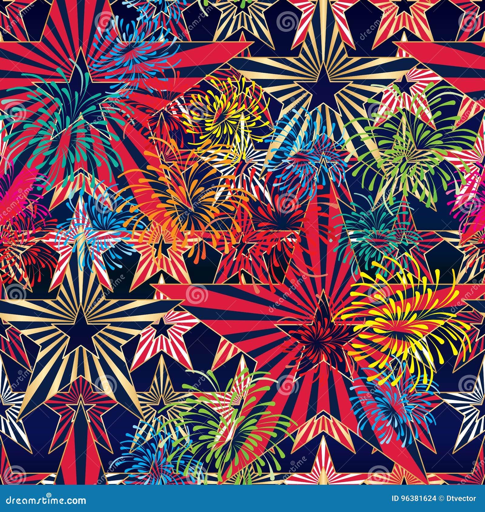 USA flag star firework seamless pattern